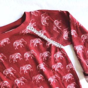 ModCloth Red Elephant Sweatshirt XXS [GUC]